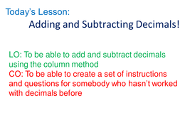 Adding and subtracting decimals by rhiannonwates | Teaching Resources