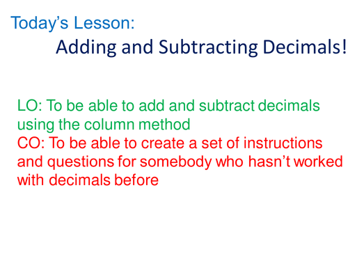 Adding and subtracting decimals by rhiannonwates Teaching – Addition and Subtraction of Decimals Worksheet