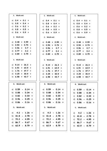 Counting Number worksheets place value decimals worksheets tes : Subtraction Worksheets : subtraction worksheets tes Subtraction ...
