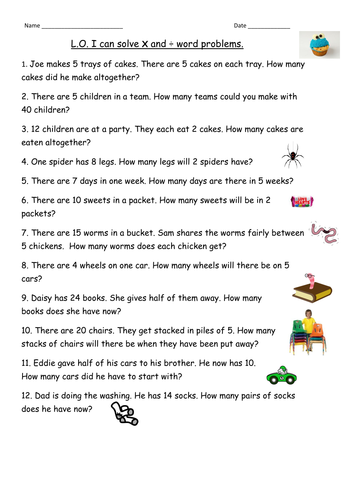 Worksheets Division Question Year 7 multiplication division word problems for year 2 by clara5 teaching resources tes