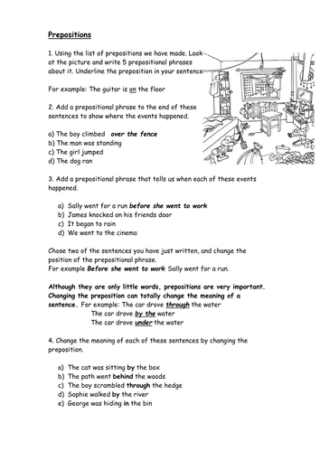 Printables Prepositions Worksheet prepositions worksheet by catrionalatham teaching resources tes