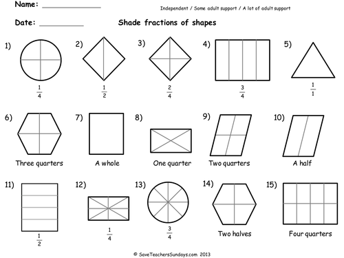 Year 2 Maths Worksheets from Save Teachers Sundays by – Fractions of Shapes Worksheet