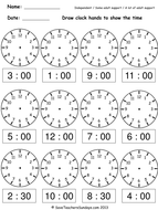 Year 2 Maths worksheets - Drawing clock hands to show times given in figures (4 levels of difficulty).pdf