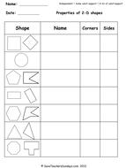 Year 2 Maths worksheets - 2-D shapes worksheets (2 levels of difficulty).ppt