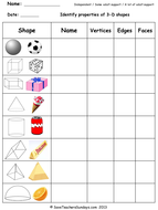 Year 3 Maths worksheets - 3D shapes worksheets (3 levels of difficulty).ppt