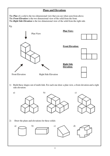 Plan Elevation Tes : Top front and side views of d objects worksheets the