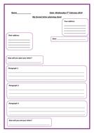 formal letter planning sheet
