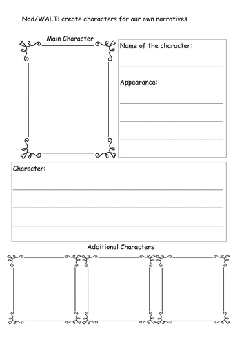Create A Character Writing Frame By Kmed2020 Teaching