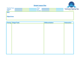 Very Simple Lesson Plan Template By Jtomlinson Teaching - Simple lesson plan template for teachers