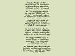 Silly Dinosaur Poem Year 1