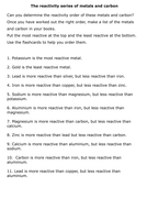 The reactivity series statement sheet.docx
