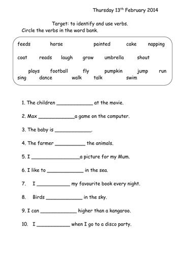 Verbs Worksheet Year 1 by joop09 - Teaching Resources - Tes
