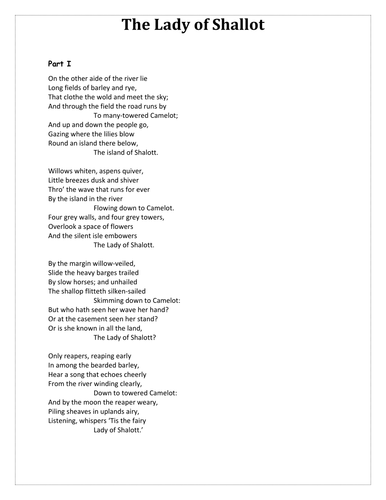 teaching ballads sow part lady of shalott by stealthteaching  teaching ballads sow part 2 lady of shalott by stealthteaching teaching resources tes