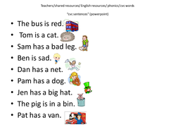 cvc sentences by cariad2 teaching resources tes