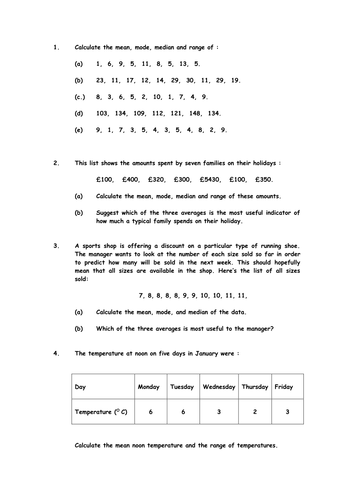 Mean, Median, Mode and Range Worksheet by cmacc90 - Teaching ...