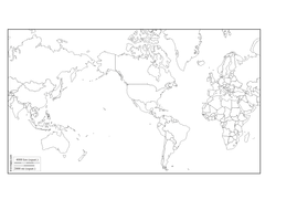 Outline map of the world amercas centred.docx
