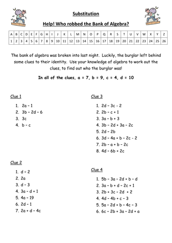 Worksheets Substitution Worksheet substitution by bulmer1404 teaching resources tes
