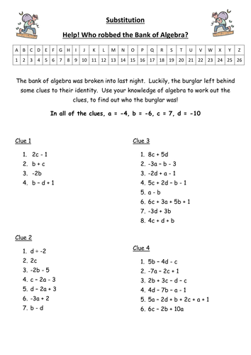 Printables Substitution Worksheet substitution by bulmer1404 teaching resources tes