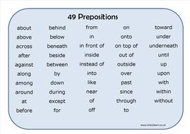 49 Prepositions Learning Mat