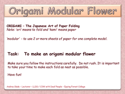 Origami Modular Flower Activity Creativity
