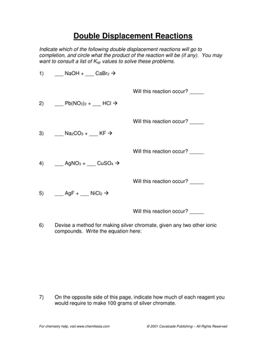 Double Replacement Reaction Worksheet 5: Worksheet 5 Double Replacement Reactions   Karibunicollies,