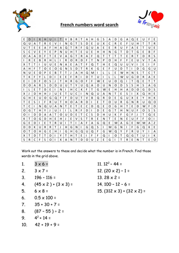 french number wordsearch worksheet 0 100 by wardy2 teaching resources tes. Black Bedroom Furniture Sets. Home Design Ideas
