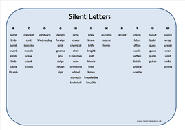 70 words with silent letters learning mat