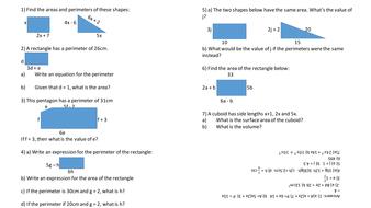 Perimeter questions using algebra