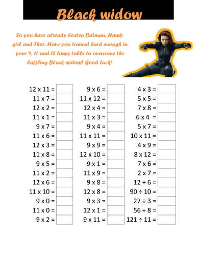 Superhero times table tests by cellerdore teaching resources tes for Times table quiz 6