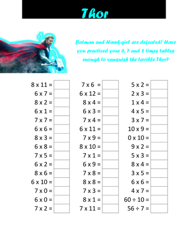 Superhero times table tests by cellerdore - Teaching Resources - Tes