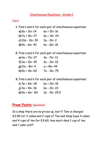 Worksheets Simultaneous Equations Worksheet worksheet simultaneous equations by mcamaths teaching resources tes