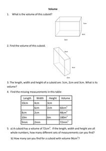 volume worksheet resources tes. Black Bedroom Furniture Sets. Home Design Ideas