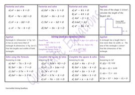 Solving Quadratic Equations W S By Climbingjack Teaching Resources