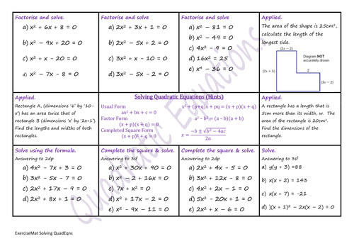Printables Solving Quadratic Equations Worksheet solving quadratic equations ws by climbingjack teaching preview resource