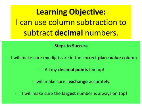 column addition subtraction ppts inc decimals by ryan brewer teaching resources tes. Black Bedroom Furniture Sets. Home Design Ideas
