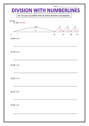 Number Names Worksheets subtraction on a number line worksheet : Division using numberlines by r4chsm1th - Teaching Resources - TES
