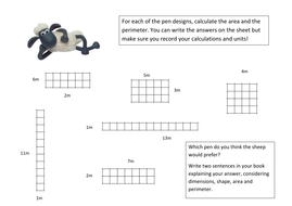 Area and Perimeter of Rectangles - Animal Pens