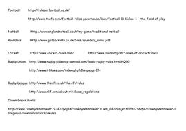BTEC Sport Unit 2 Rules Websites