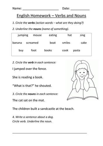 Nouns and Verbs Worksheet KS1 by mignonmiller - Teaching Resources ...