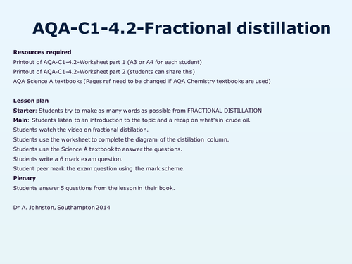 AQAC14Crude oil and fuels by WonderCaliban Teaching Resources – Fractional Distillation Worksheet