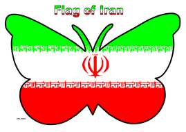 Butterfly Themed Flag of Iran