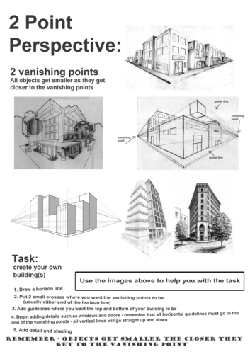 Linear perspective worksheets by phaddow - Teaching Resources - TES