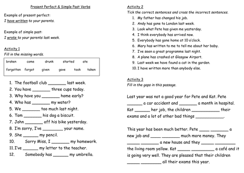 Worksheet Easy Grammar Worksheets grammar worksheets and games by victeach teaching resources tes present perfect simple past tense worksheet doc