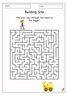 Building Site Themed Maze Activity Game