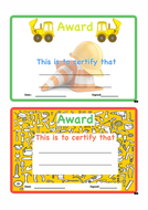 Building Site Themed Award Certificates