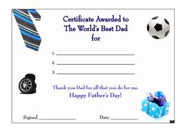 certificate for world s best dad by pencilstreet teaching