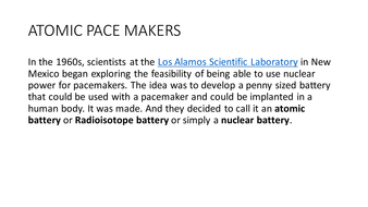 Atomic battries in Pace Makers AQA A2 Physics B