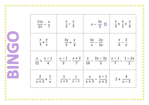 Algebraic Fractions BINGO by HSpedding Teaching Resources TES – Adding and Subtracting Algebraic Fractions Worksheet