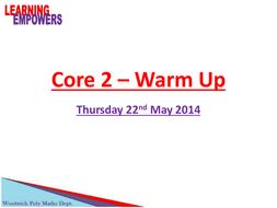 Core 2 Warm Up