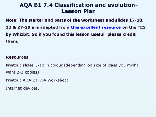 AQA-B1-7-Evolution by WonderCaliban - Teaching Resources - TES